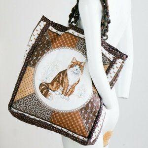 Handmade Reversible Cat Motif Patchwork Look Bag